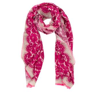 Valentino Pink Lace Print Scarf