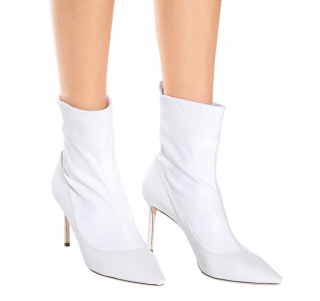 Jimmy Choo White Brandon 85 Ankle Boots