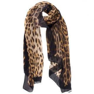 Moschino Cheetah Print Silk Scarf
