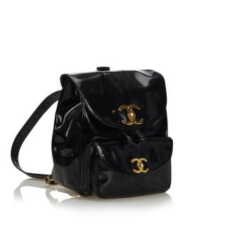 Chanel Black Patent Leather Drawstring Backpack
