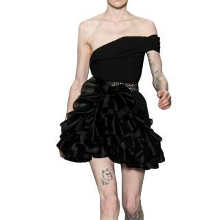 Saint Laurent black one shoulder evening dress