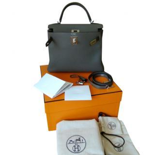Hermes Special Order KELLY 28 Retourne Togo Gris&Black silver hardware