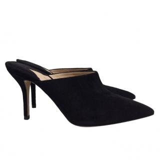 Paul Andrew black suede heeled mules