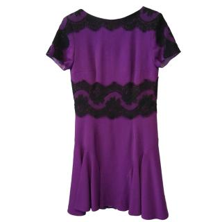 Philip Armstrong Purple dress with black lace detail