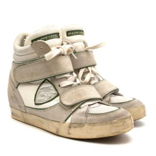 Philippe Model Hi-Top Distressed Hidden Wedge White Trainers