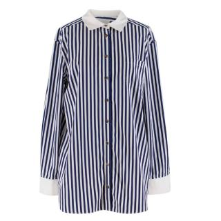 Monographie White & Blue Striped Cotton Shirt