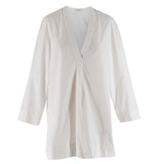 Tome White V-neck Long Sleeve Shirt