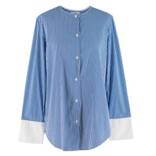 Tome Blue Pinstriped Long sleeve Top with Back Opening