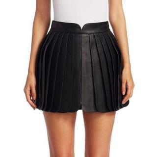 Brandon Maxwell Pleated Leather Mini Skirt in Black
