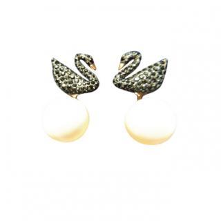Swarovski Crystal Swan Earrings