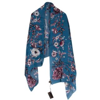 Roberto Cavalli Blue Floral Printed Square Scarf