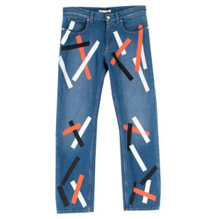 Christopher Kane Denim Jeans with Multicolor Paint Detail