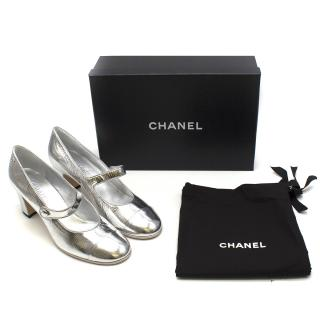Chanel Resort 2019 Silver Mary Jane Pumps