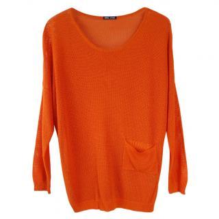 Miu Miu neon orange cotton blend jumper