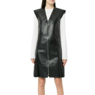 Celine Black Faux Leather Sleeveless Exposed Zip Front Dress