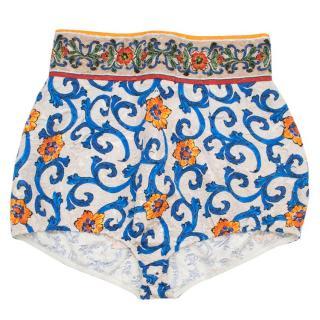 Dolce & Gabbana Majolica Print High Waisted Shorts