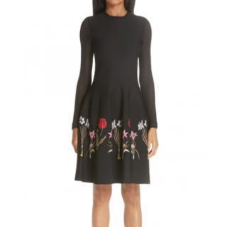 Oscar De La Renta floral embroidered long sleeve black dress