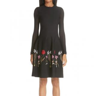 Oscar De La Renta floral embroidered long sleeve black dress