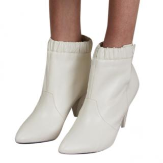 Celine white kid leather ankle boots