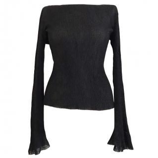 KEJI long sleeved semi sheer black top