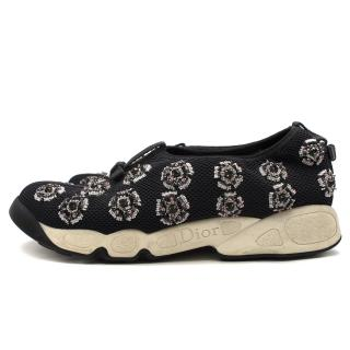 Christian Dior Black Technical Fabric Embellished Slip-on Trainers