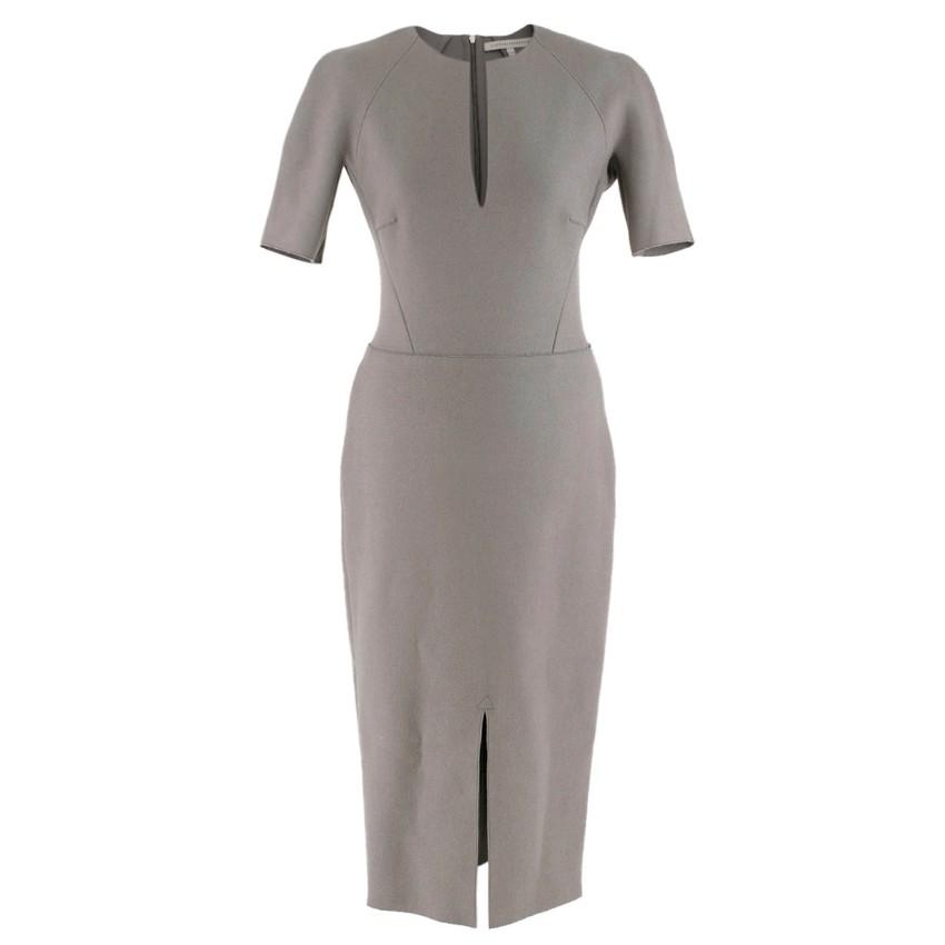 Victoria Beckham Wool Grey Shift Midi Dress