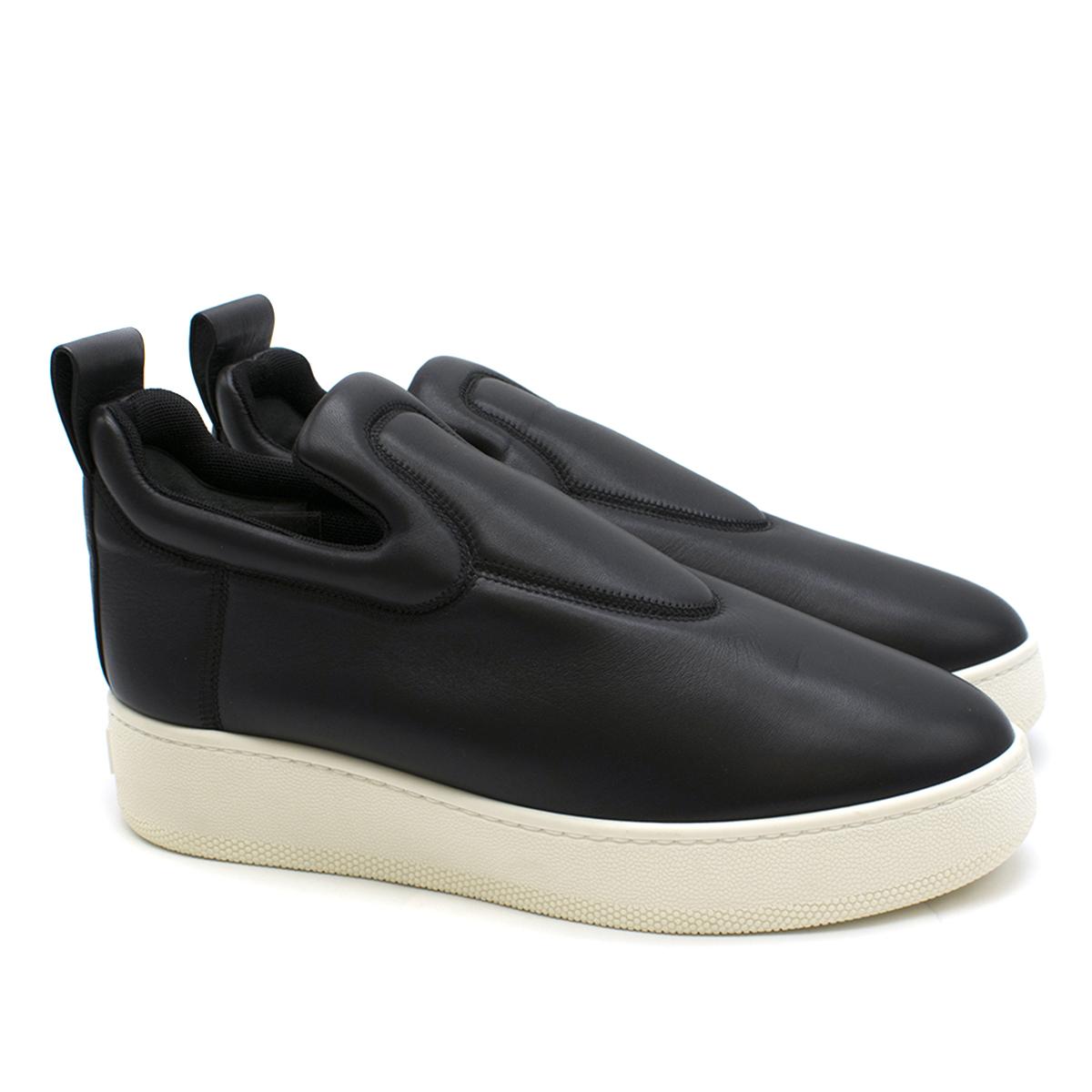 Celine Black Leather Slip On Sneakers