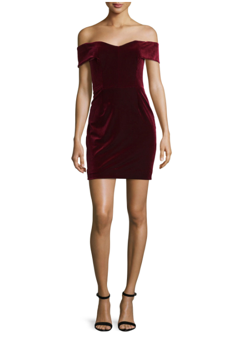 Nicholas Bordeaux Velvet Off-the-Shoulder Mini Dress