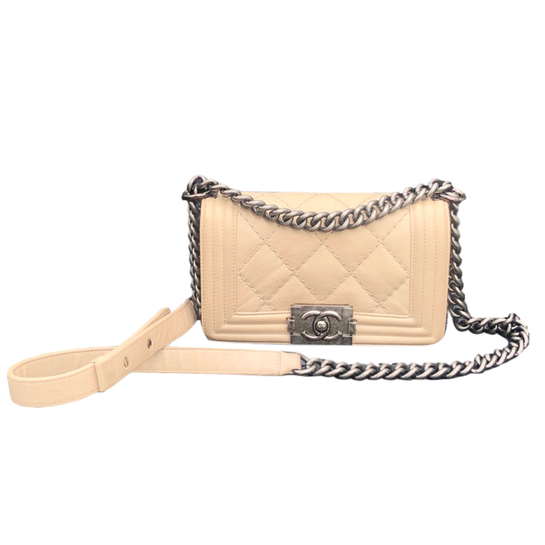 Chanel small beige quilted leather boy bag with ruthenium hardware