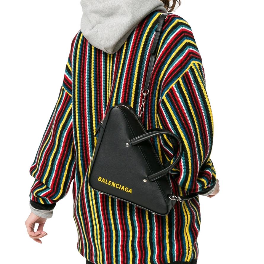 Balenciaga Black Triangle Small Duffle Leather Bag