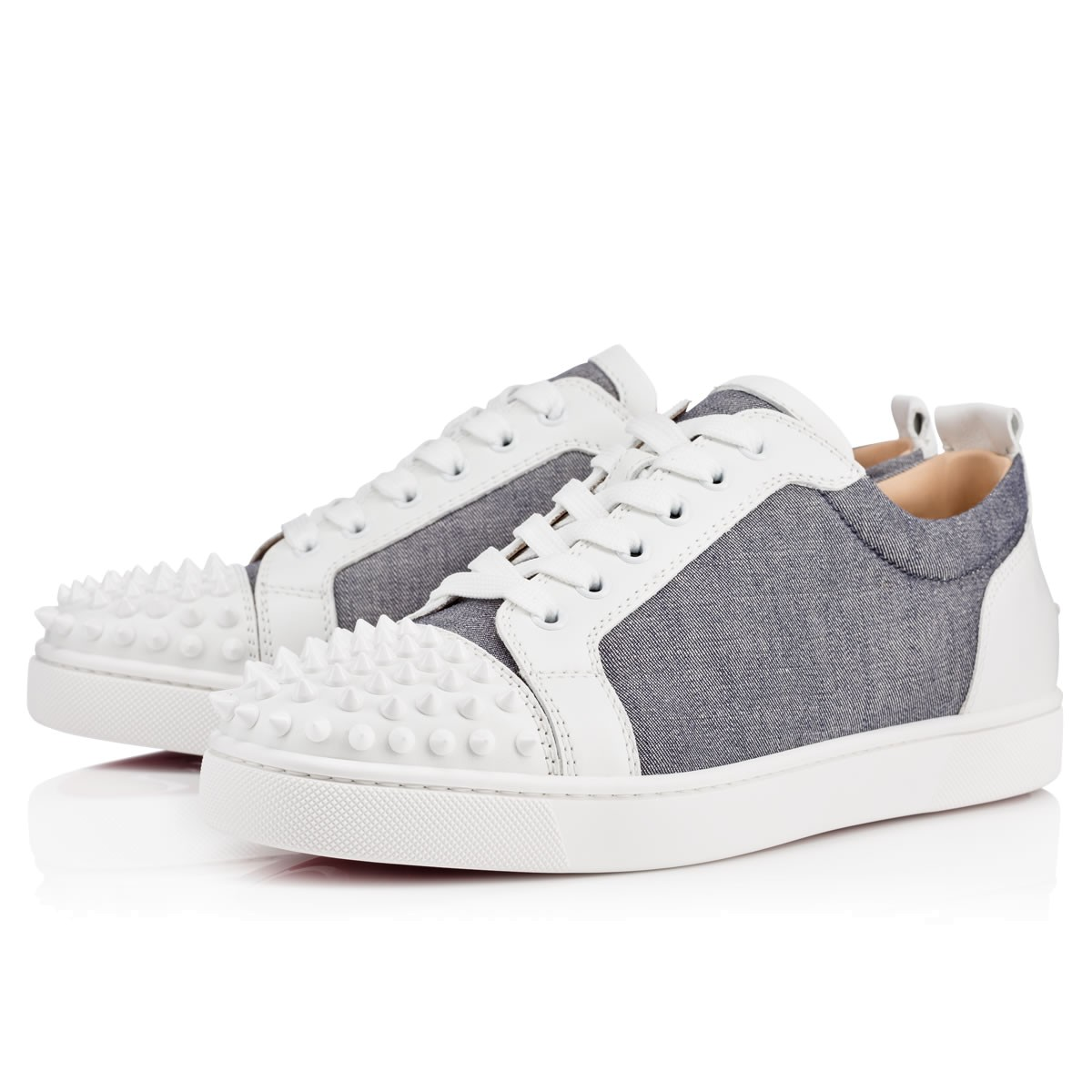 Christian Louboutin Men S Junior Spike White And Grey Trainers