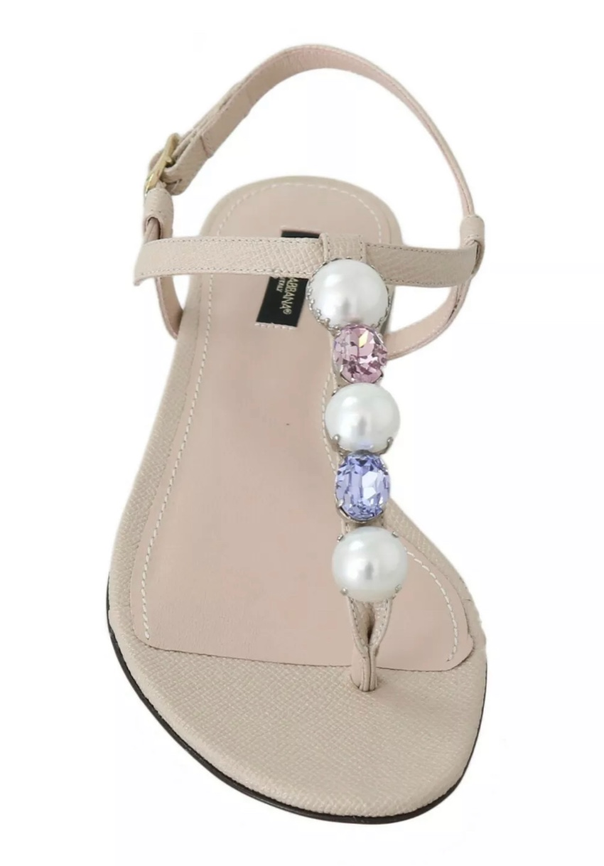Dolce & Gabbana beige crystal flat sandals