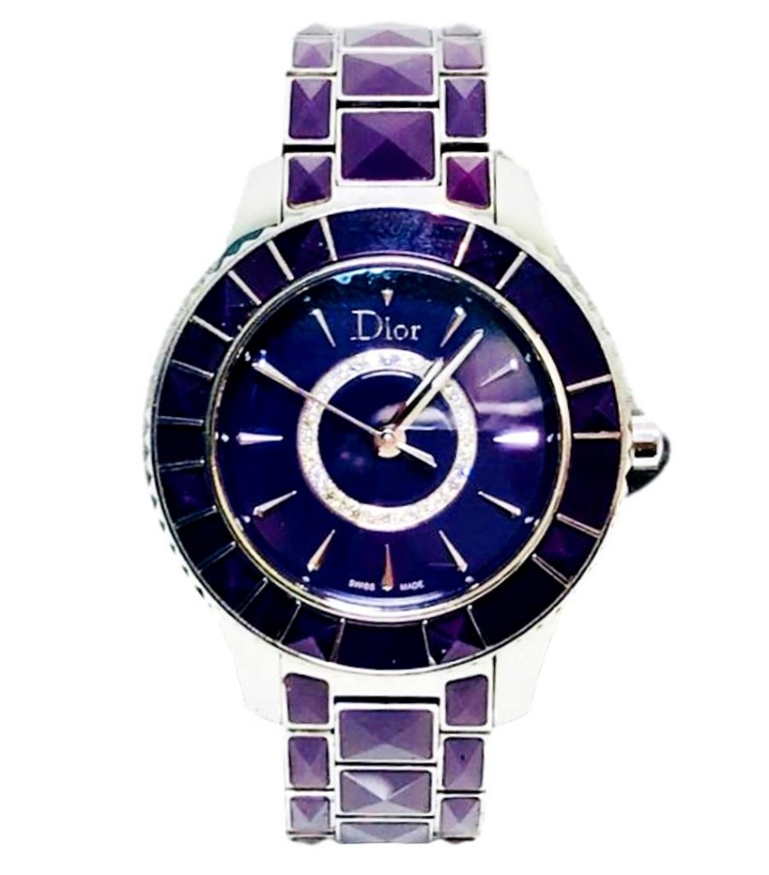 Christian Dior purple sapphire crystals and white diamonds watch