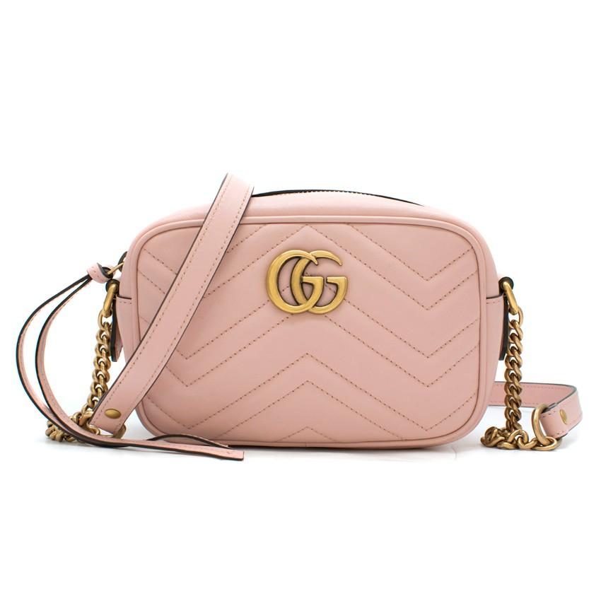 Gucci Marmont Baby Pink Matelasse Mini Camera Bag