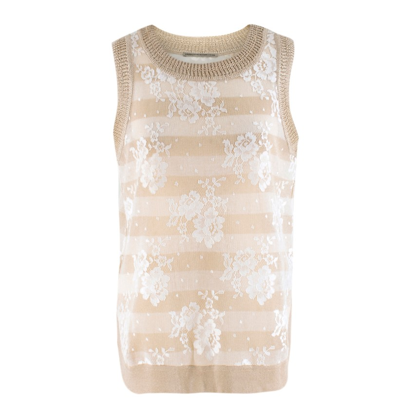 Ermanno Scervino Gold Floral Lace Striped Sleeveless Top