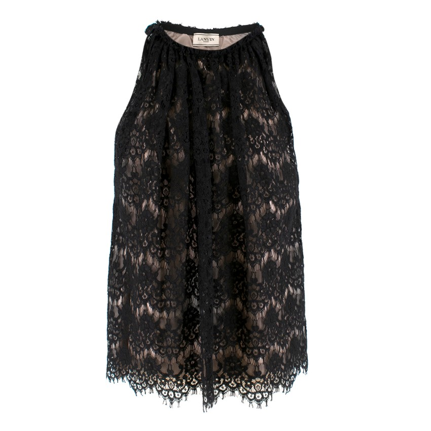 Lanvin Black Silk Lace Embellished Sleeveless Top