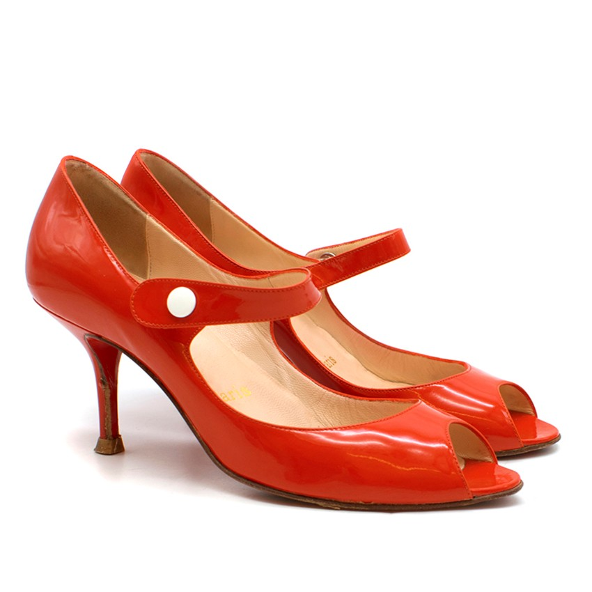 buy online 03c47 03e48 Christian Louboutin Red Patent Mary Jane Peep Toe Pumps
