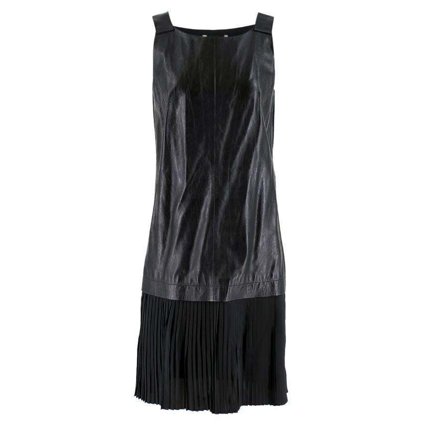 Max Mara Black Leather Pleated Sleeveless Dress