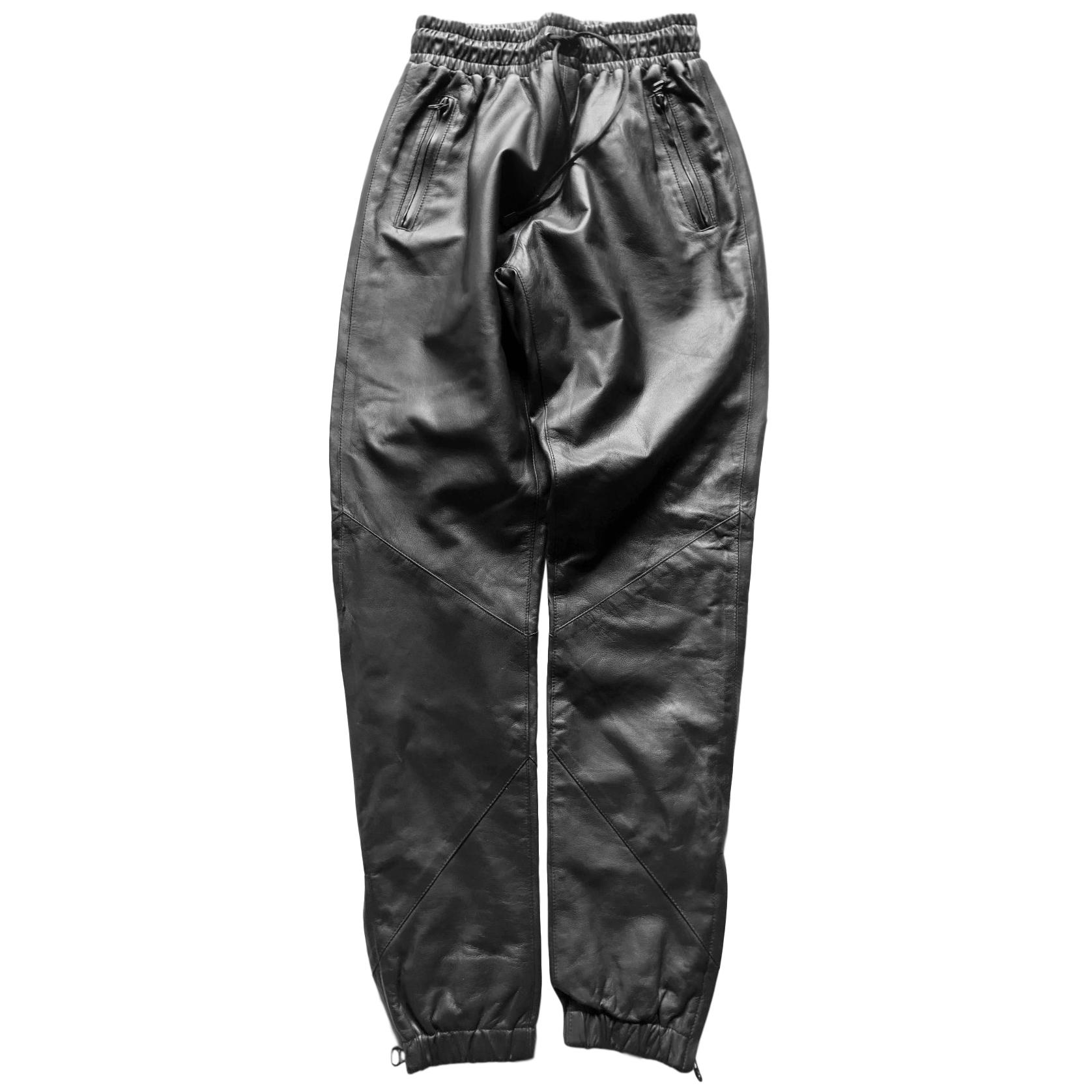 EN/NOIR Black Leather Track Pants