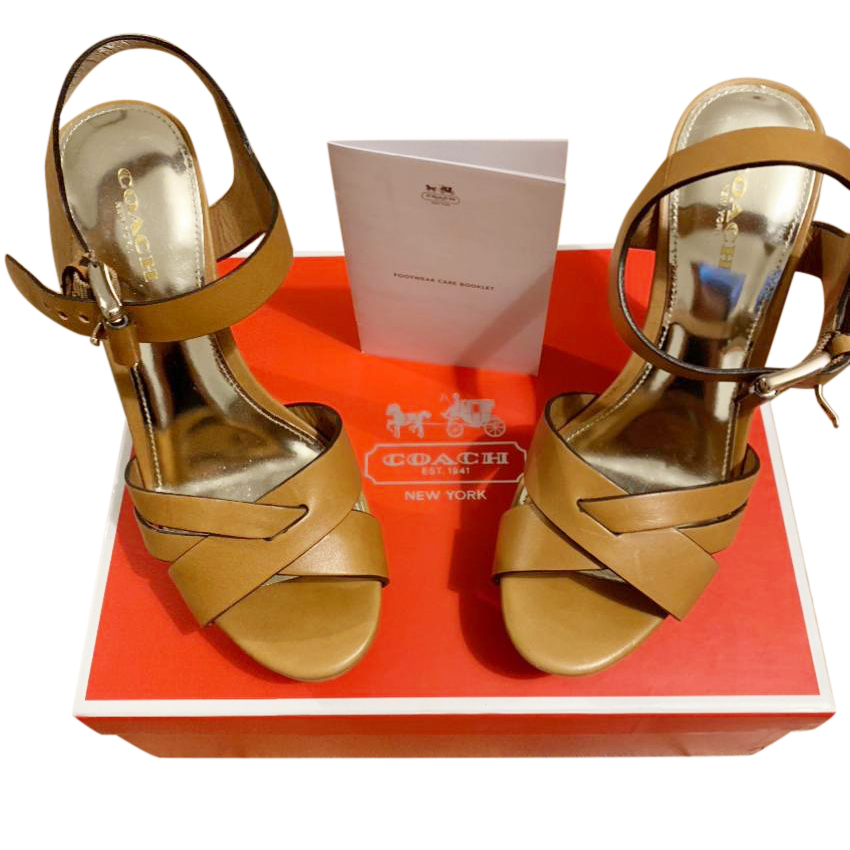 Coach Tan Platform Sandals