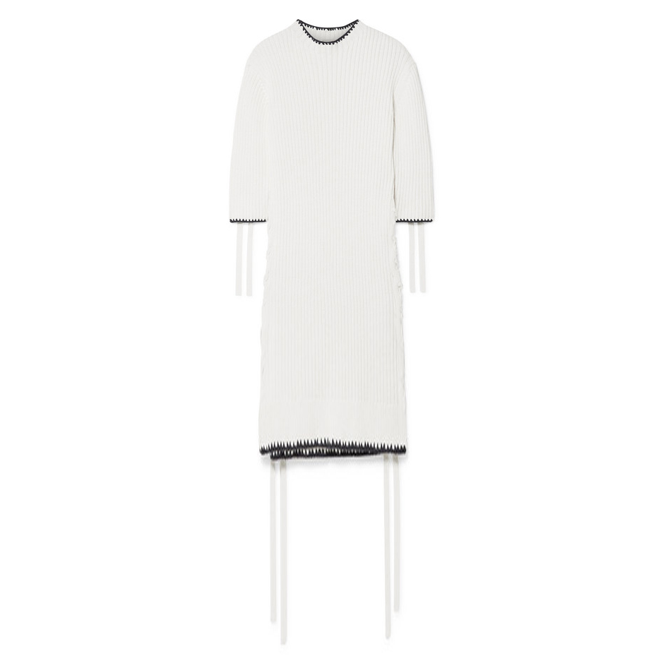 By Malene Birger Cream Lace-up ribbed cotton dress