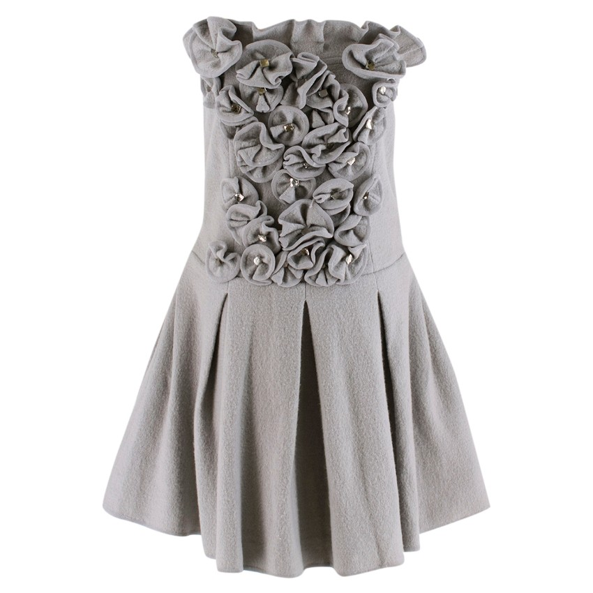 Emporio Armani Wool Grey Floral Embellished Strapless Dress