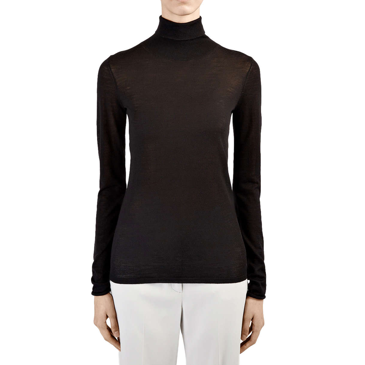 Joseph Black Sheer Knit Rollneck Sweater
