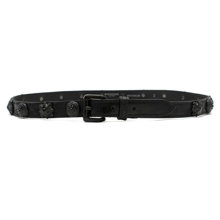 Burberry Black Leather Embellished Belt