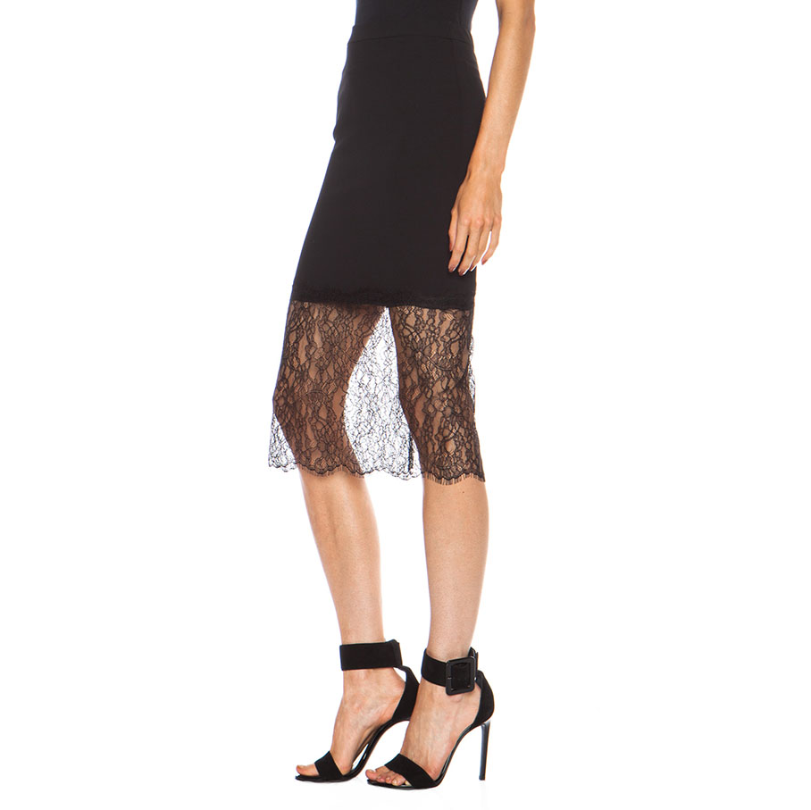 Nicholas Lace Trim Crepe Poly Skirt in Black