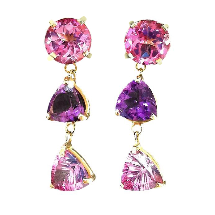 Bespoke Amethyst & Topaz Drop Earrings