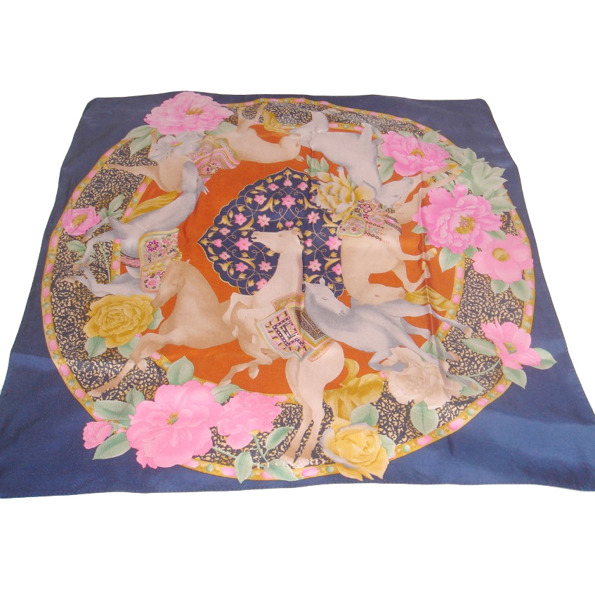 Leonard Paris Vintage Silk Floral Horse Print Scarf
