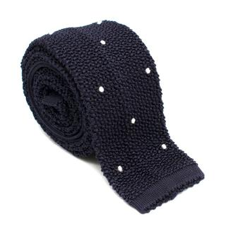 Emma Willis Navy Silk Polka dot Open Knit Square Cut Tie