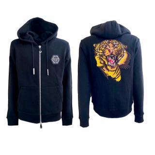 Philipp Plain tiger motif hooded sweatshirt jacket
