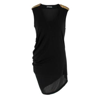 Alexander McQueen Black Tunic Top with Crystal Embellished Shoulders